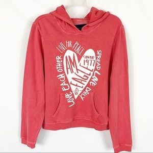AEO Salmon Pink Live For Peace Hooded Sweatshirt M